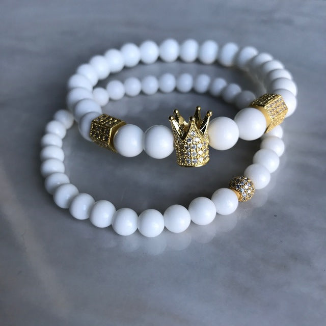 Men & Woman Natural  Beads Buddha Crown Charm bracelet set - White & Gold