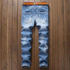 Casual Ripped Slim Fit Light Blue Jean