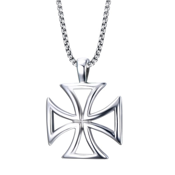 Stainless Steel Vintage Hollow Maltese Iron Cross Pendant
