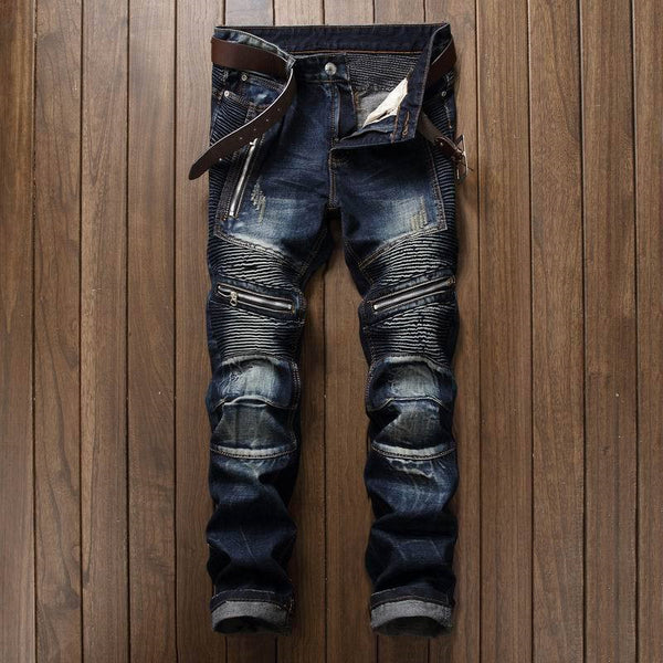 Men's Pleated Biker Jeans