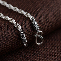 100% Real 925 Sterling Silver Retro Chain Necklace for Men