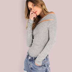 Women's Casual Long Sleeve Shirt - Grey