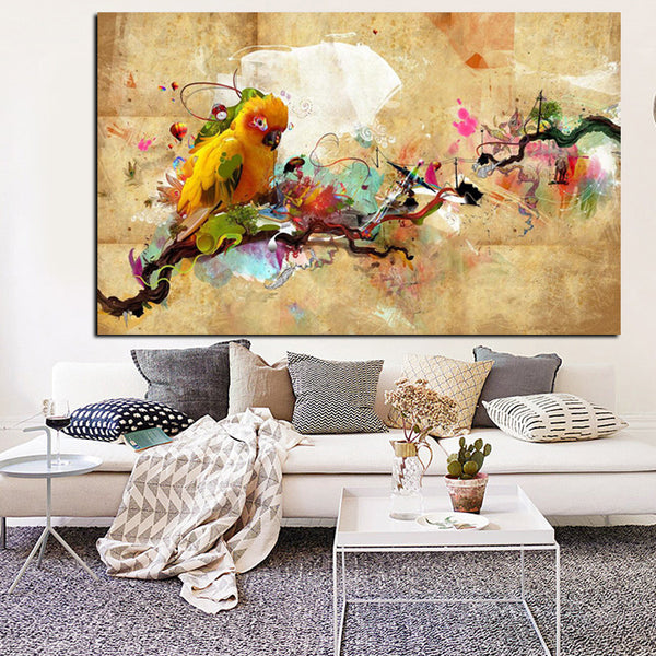 Parrot Bird Print on Canvas Painting