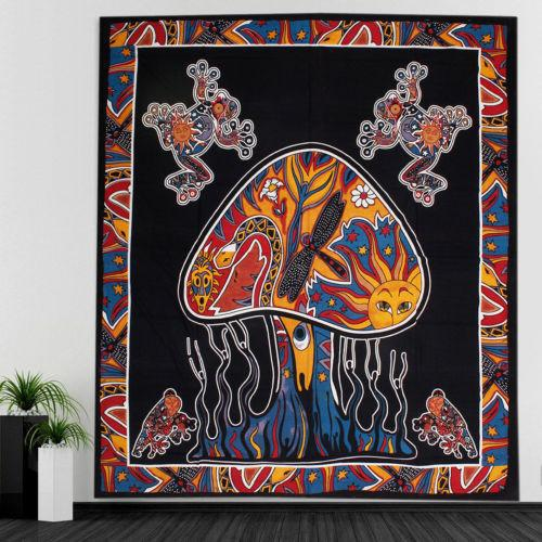Hippie Frogs Mushrooms Boho Mandala Tapestry