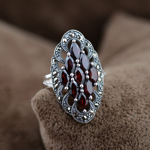 925 Sterling Silver Red Garnet Retro Ring