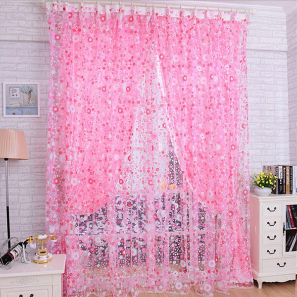 Beautiful Print Floral Door Sheer Window Curtain