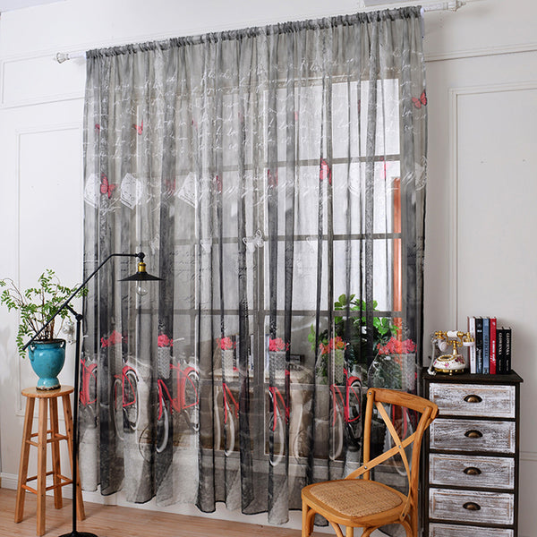Bicycle Print Tulle Door Window Curtain