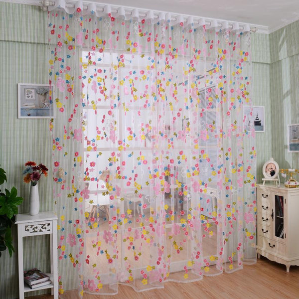 Print Floral Printed Tulle Voile Door Window Curtain