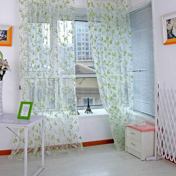 Print Floral Voile Door Window Curtain
