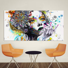 Modern Canvas Art - Girl With Flowers