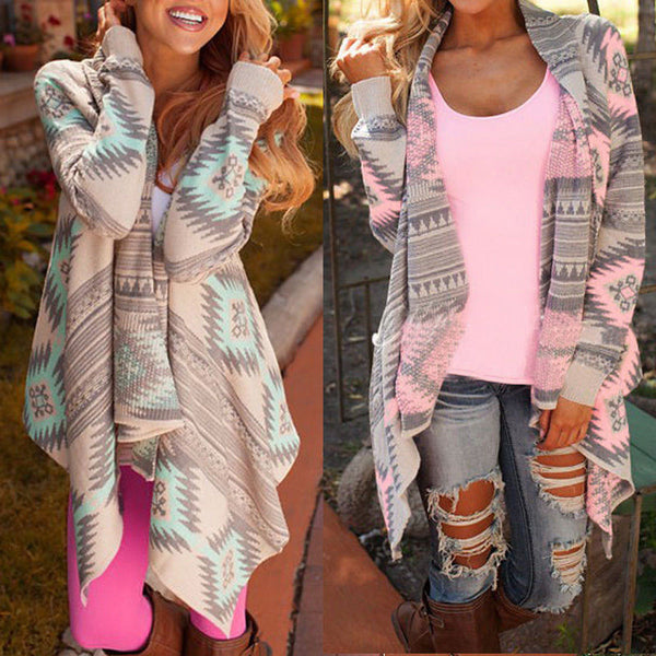 Women's Geometric Printed Cardigan - Pink or Green