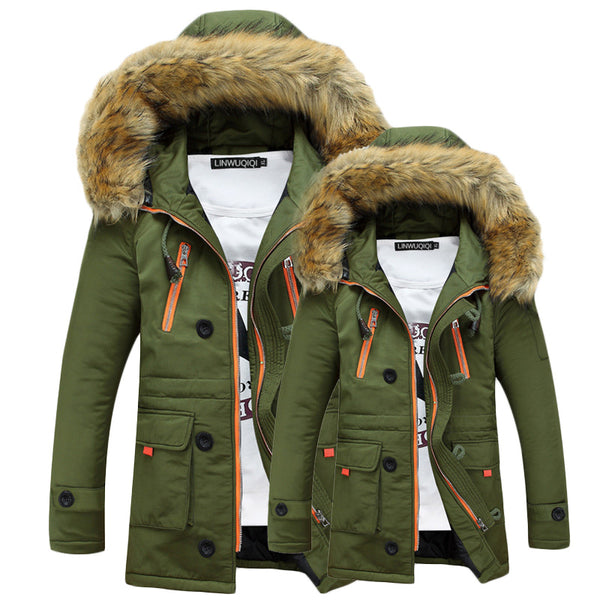 Winter Men's Jacket Detachable Fur Hooded - Various Colors