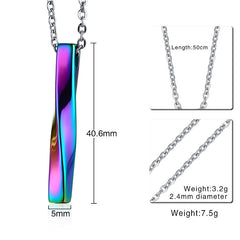 Square Twisted Column Pendant Necklace - Rainbow or Silver
