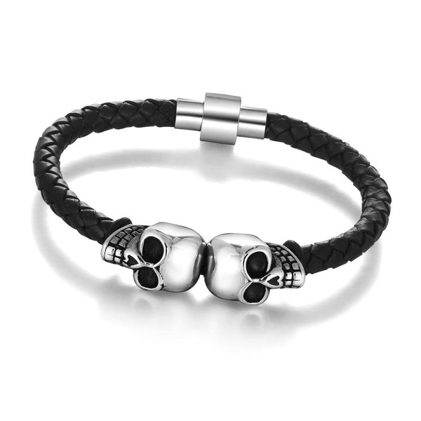 Genuine Leather Skeleton Skull Stainless Steel Bracelet