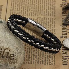 Genuine Leather Stainless steel Wristband Bracelet
