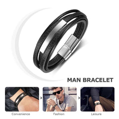 Multilayer Leather Stainless Steel Bracelet