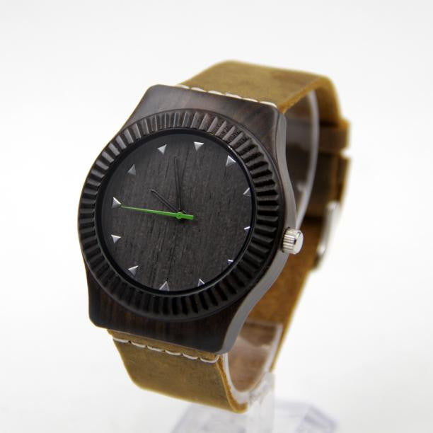 Bamboo Wooden Watch with Leather Band | Very Dark Brown - Brown Leather Band