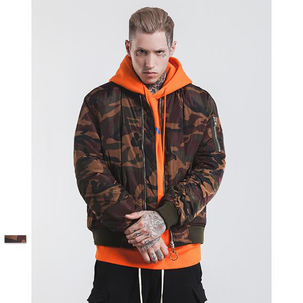 Men's Thick Bomber Jacket - Camouflage Style