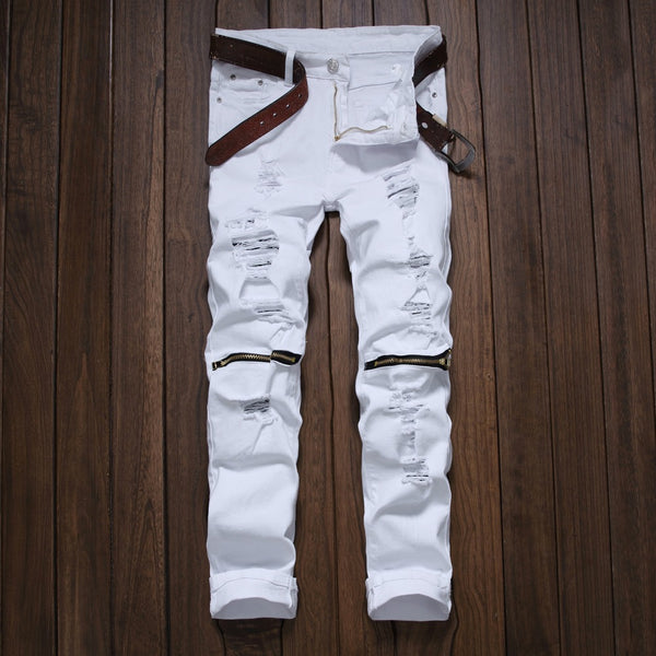 Men Slim Skinny Destroyed Jean
