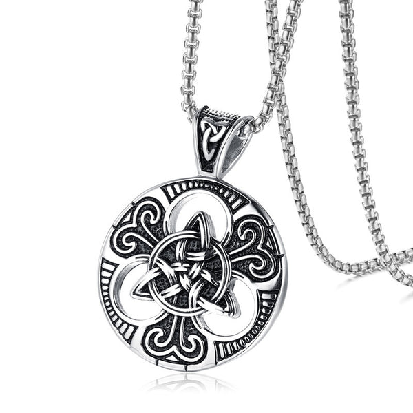Celtic Trinity Love Knot w/ Triquetra Pendant and Chain (Stainless Steel)
