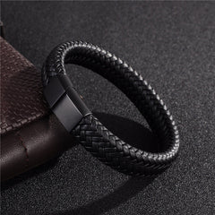 Black/Brown Braided Leather Bracelet - Magnetic Clasp