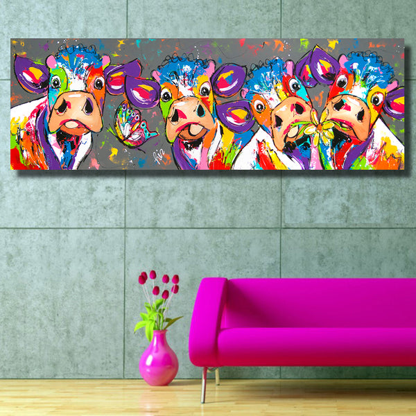 Colorful Four Cows Animals Graffiti Oil Painting Canvas Print