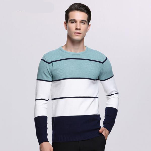 Winter Men's Sweater - Cashmere Cotton - Light Blue or Pink