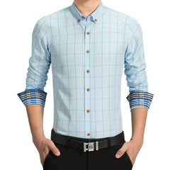 Casual Slim Fit Long Sleeve Plaid Cuff Shirt