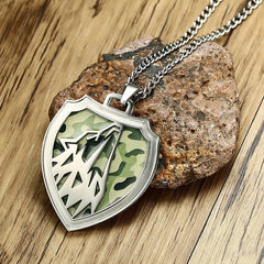 Wolf Head Green Camouflage Stainless Steel Pendant