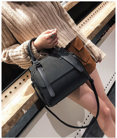Matte PU Leather Portable Hand  Shoulder Bag - Black