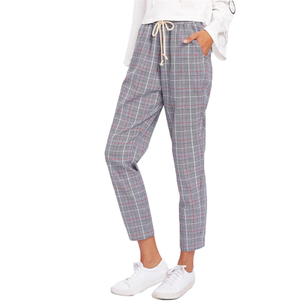 Grey Drawstring Detail Plaid Peg Pants
