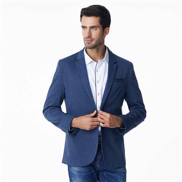 Single Button Cotton Solid Color Blazer