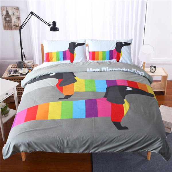 Dachshund Sausage Cute Rainbow Puppy Duvet Cover Set