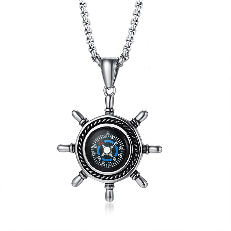 Stainless Steel High Rudder Compass Pendant