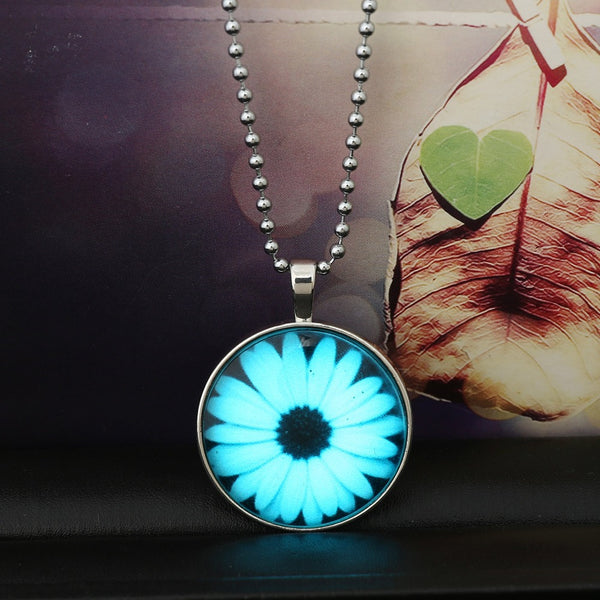 Sunflower Glow in Dark Pendant Necklace