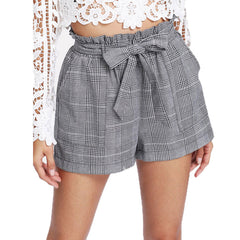 Casual Self Belted Plaid Hot Knot Pocket Short