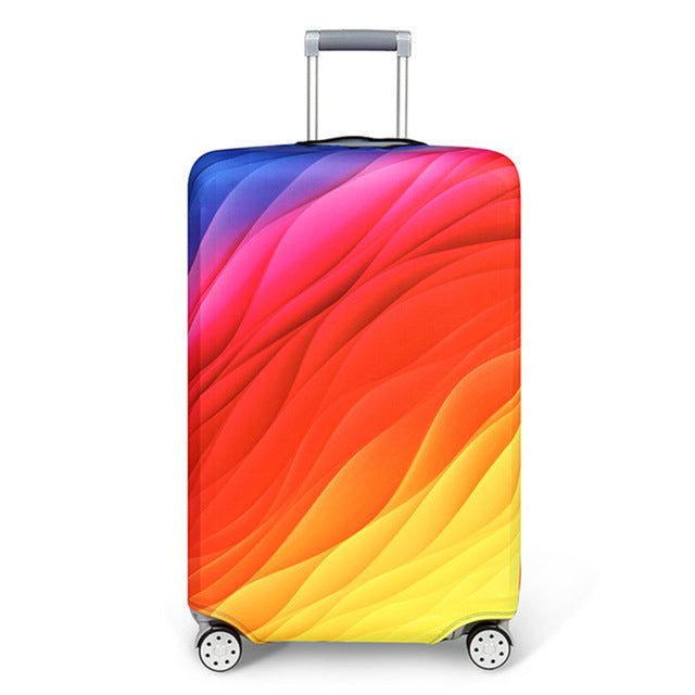 The Colored Waves - Elastic Fabric Protective Luggage Cover