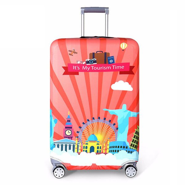 It's My Tourism Time - Elastic Fabric Protective Luggage Cover