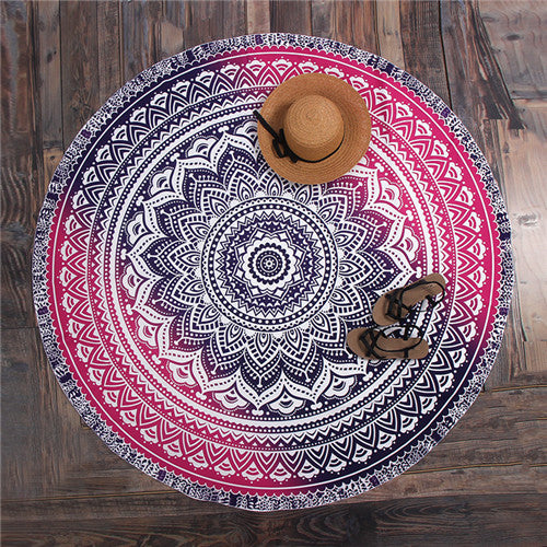 Hippie Mandala Peacock Flower Indian Bohemian Beach Towel No2