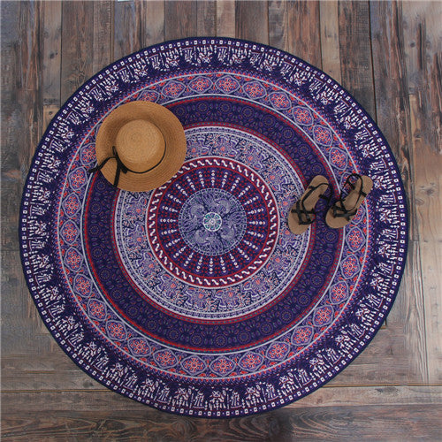 Hippie Mandala Peacock Flower Indian Bohemian Beach Towel No5