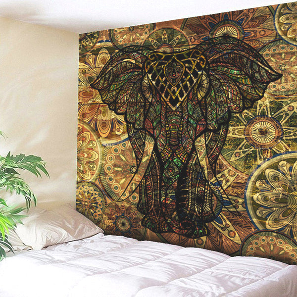 Elephant Printed Indian Mandala Tapestry