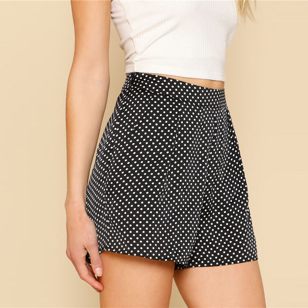 Casual Polka Dot Tailored Short