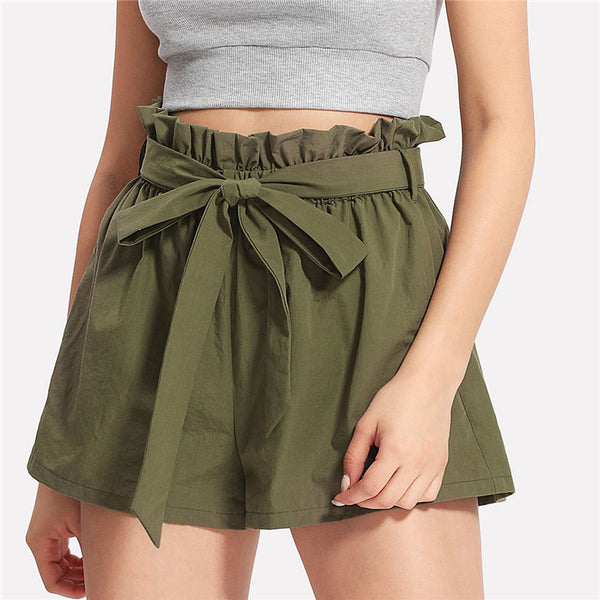 Casual Ruffle Waist Self Belt Bow Short