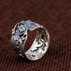 Vintage Flower 999 Pure Silver Open Ring for Women