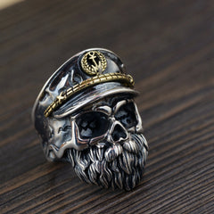 Solid 925 Sterling Silver Skull & Beard Ring for Men