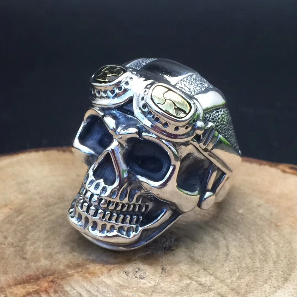 100% Real 925 Pure Silver Jewelry Vintage Skull Ring for Men