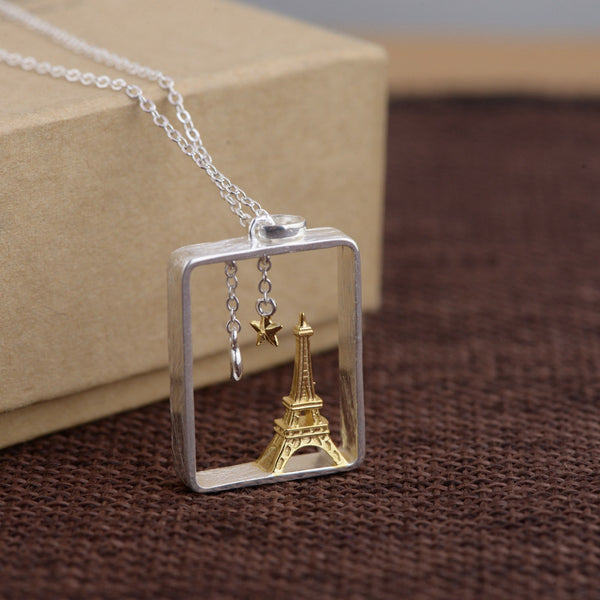 925 Sterling Silver Eiffel Tower Pendant