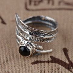 Feather Sterling Silver Adjustable Ring