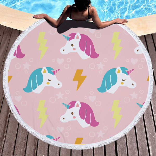 The Unicorns & Thunderbolts Beach Summer Towel Round With Tassels