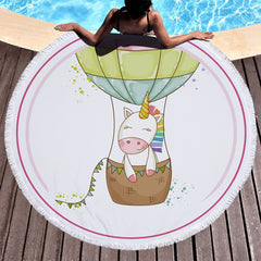 The Unicorn in Balloon Beach Summer Towel Round With Tassels